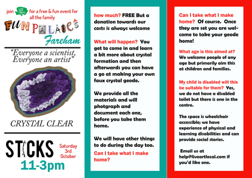 leaflet for Fareham Fun Palace at Sticks Saturday 3rd October 11am